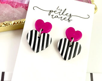 Hearts, 2 hearts, earrings, polymer, black and white stripped, pink, polymer clay, stainless stud, polymer clay earring, les perles rares