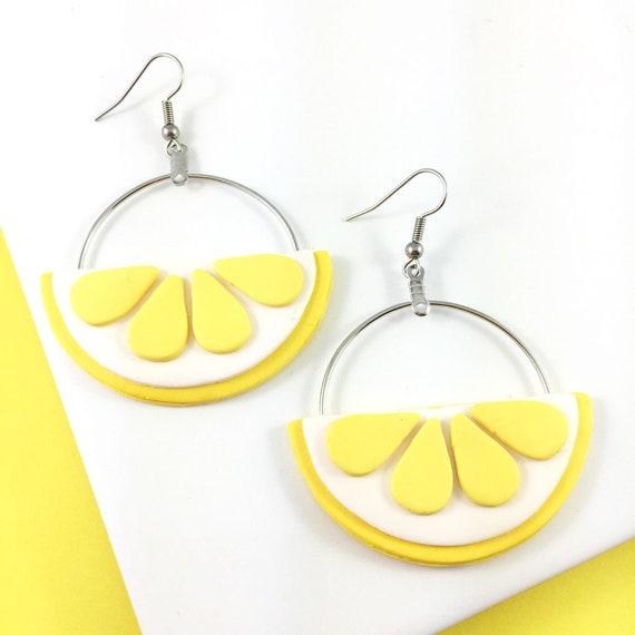 lemon polymer earring, polymer clay, citrus, lemon slice fruit, yellow and white, stainless, nickel hoop, stainless hook, lesperlesrares