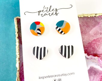 2 pairs polymer Studs, round, circle, heart, stripped, orange, turquoise, blue, stainless stud, polymer clay earring