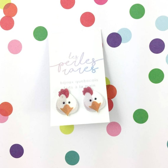 hen, chicken, white, yellow, red, stud earring, print on plastic, shrink plastic, stainless stud, handmade, les perles rares