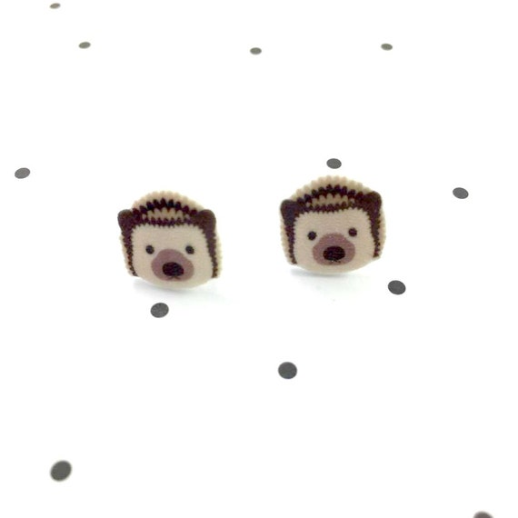 Small, hedgehog, brown, animal, earrings, light, hypoallergenic, plastic, stainless stud, handmade, les perles rares