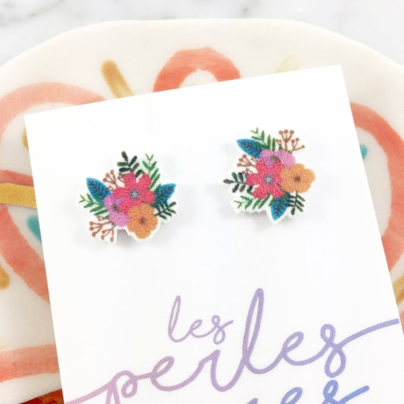 flowers, bouquets of flower earring, pink, orange, green, stud earring, stainless stud, nickel free, handmade, les perles rares