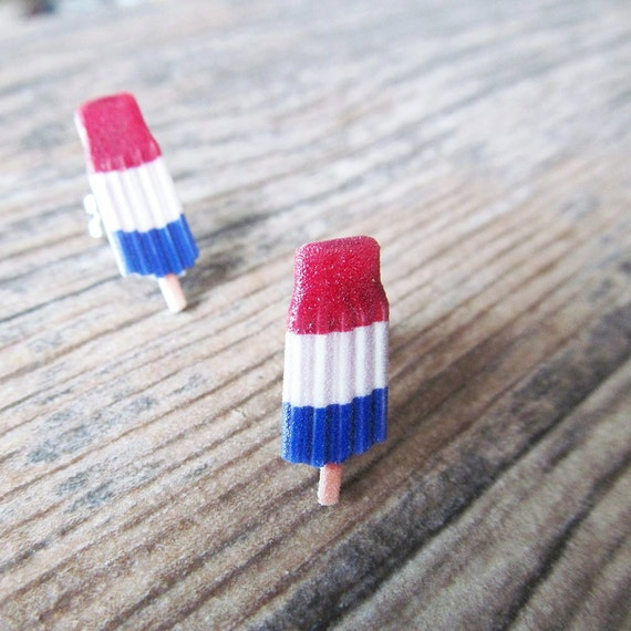 Small, popsicle, tree colors, pops, color, earrings, plastic, red, white, blue, stainless stud, handmade, les perles rares