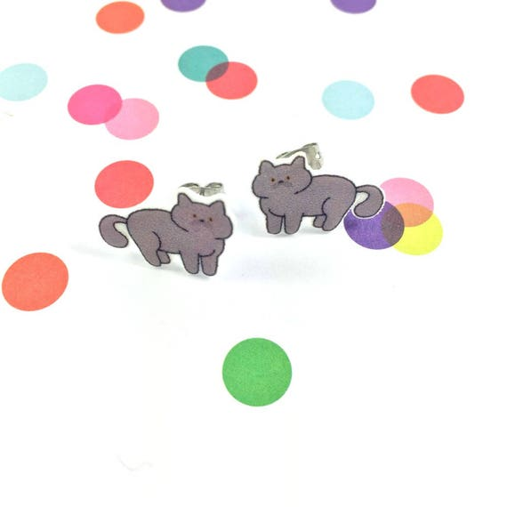 cat, grey colors, stud, earring, shrink plastic,  stainless stud, nickel free, light, handmade, les perles rares