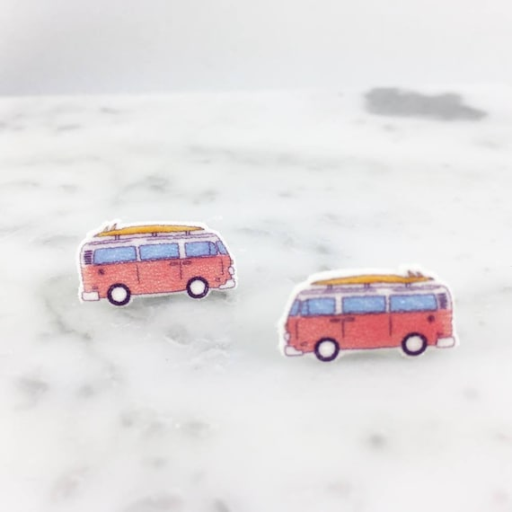 camper, camping car, earring, summer car, holidays,print on plastic, shrink plastic earring, stainless stud, handmade, les perles rares