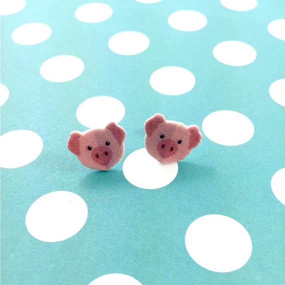 pig, ping pig, pink face, stud earring, print on plastic, shrink plastic earring, stainless stud, handmade, les perles rares