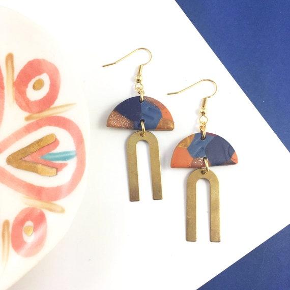 polymer marine, orange, gold, semi circle, u metal form, golden, pendent, summer clay, golden hook, polymer clay earring, les perles rares