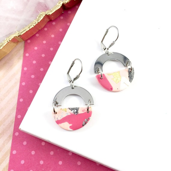 polymer pink, 80s, peach, gray, colors, stainless, awesome, polymer clay, gray, pink, bleu, polymer clay earring, les perles rares