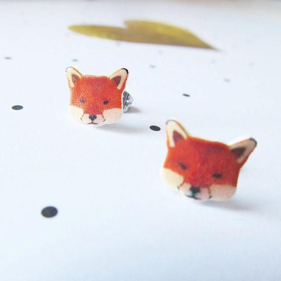 red, orange, fox, head, autumn, earring, stud, shrink plastic,  stainless stud, nickel free, handmade, les perles rares