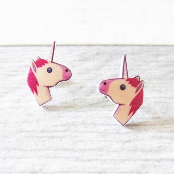 Small, earrings, shrink plastic, unicorn, white, pink, stainless stud, handmade, les perles rares