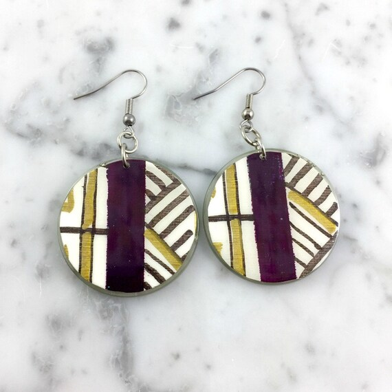 Resin earrings, geometric, purple, gold, white, handmade paint, handmade, sold, background, hypoallergenic hook