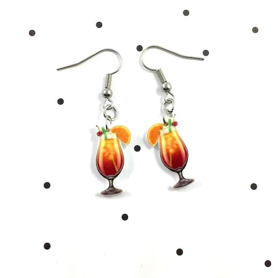 cocktail, beach, orange, earring, pendent, earring,  plastic, stainless hook, handmade, les perles rares