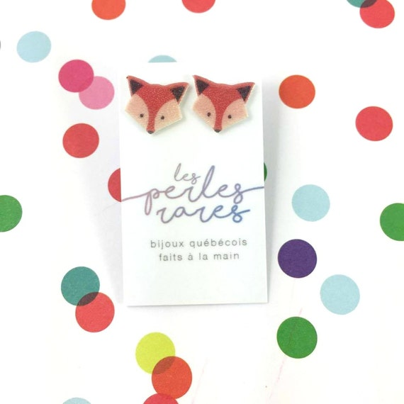Small, orange, fox, fox lover, earrings, light, hypoallergenic, plastic, stainless stud, handmade, les perles rares
