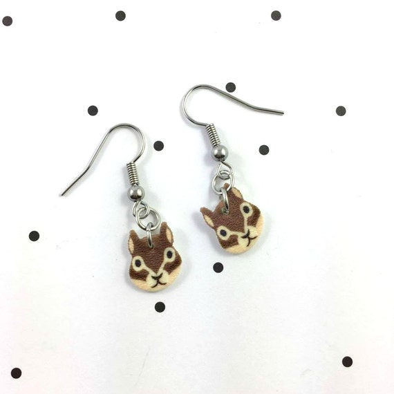 squirell, brown, earring, pendent, earring,  plastic, stainless hook, handmade, les perles rares