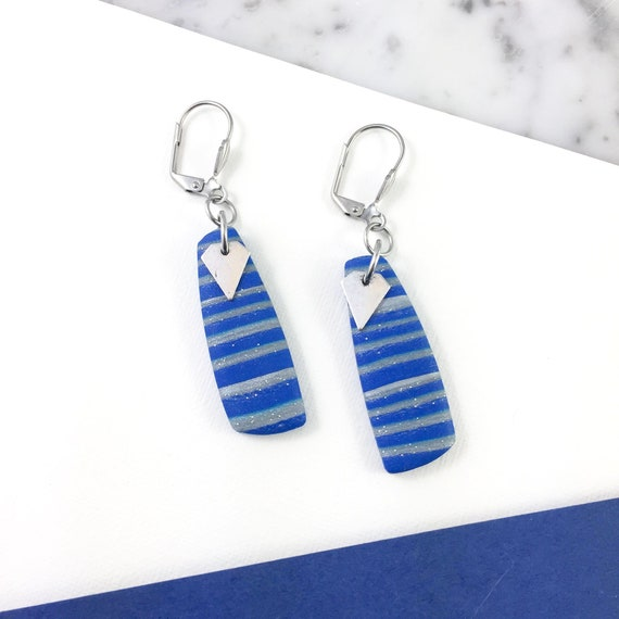 polymer geometric, diamond metal, long earring,stainless, royal stripped blue silver polymer clay earring, metal triangle,  les perles rares