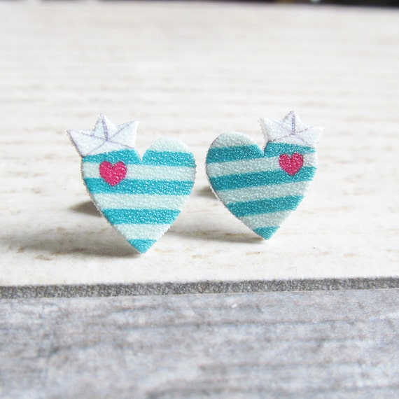 Small, marine navy heart, earrings, shrink plastic, turquoise, pink, white boat paper, stainless stud, handmade, les perles rares