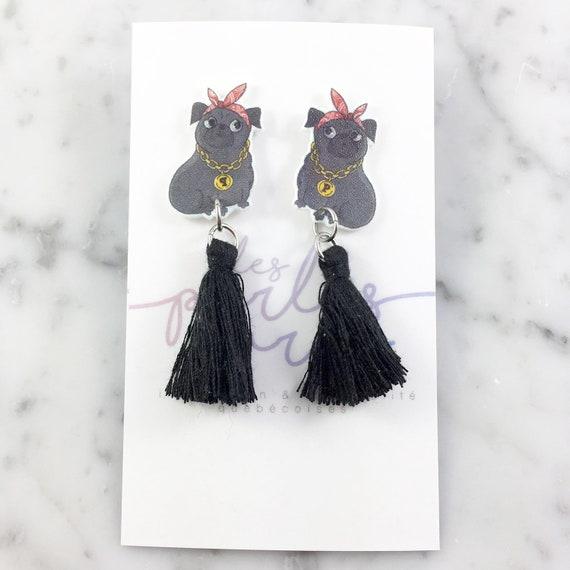 black pug, black tassel, stud earring, tassel, hypoallergenic, plastic, stainless stud, handmade, les perles rares