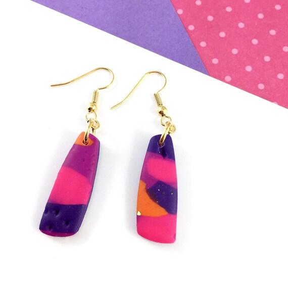 polymer geometric, diamond gold metal, long earring, marine, pink, brown, polymer clay earring, metal oval, les perles rares