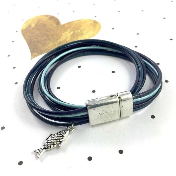 Leather, magnetic, magnet, bracelet, blue, light blue, fish, charm, choker necklace, magnet, les perles rares