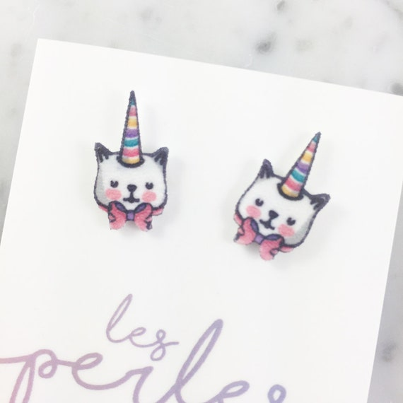unicorn, cat, rainbow, white, stud, earring, shrink plastic,  stainless stud, nickel free, light, handmade, les perles rares
