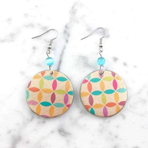 Resin earrings, abstract geometric yellow, spring colors, blue glass bead , handmade, hypoallergenic hook, stainless steal, les perles rares