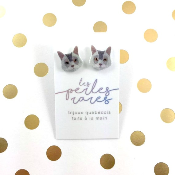 gray cat, catlover, earrings, catlover, plastic, stainless stud, handmade, les perles rares