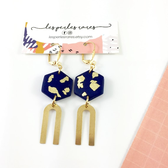 polymer hexagone, marine, gold, U gold, earwire, leverback gold,earring, stainless earring, polymer clay earring, les perles rares