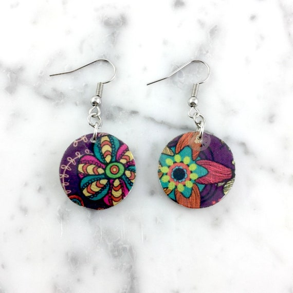 Resin earrings, pendent earring, purple, flowers pattern, unique, handmade, sold, earring, hypoallergenic stud