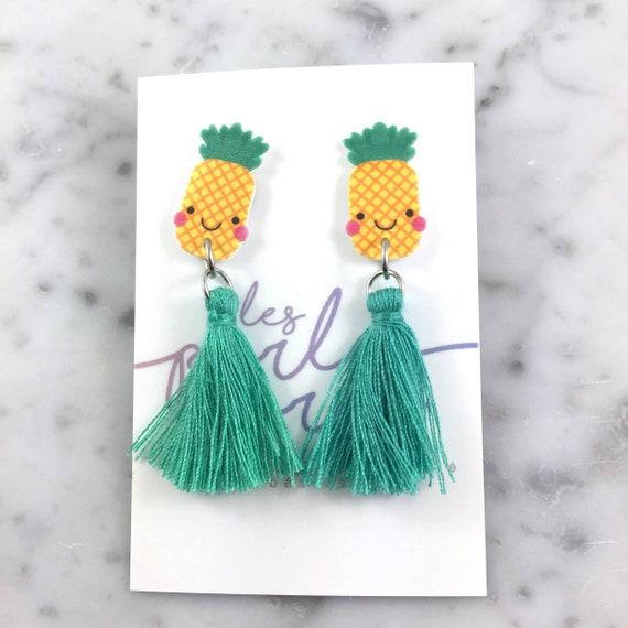 Pineapple, earring, yellow, turquoise, cute face, tassel, hypoallergenic, plastic, stainless stud, handmade, les perles rares
