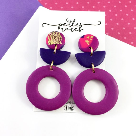 polymer purple, orange, pink, gold, hoop, ring, three polymer pieces, stainless stud, polymer clay earring, les perles rares