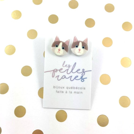 Cat, earring, brown, gray, white, catlover, cute cat, comic cat,  light, hypoallergenic, plastic, stainless stud, handmade, les perles rares