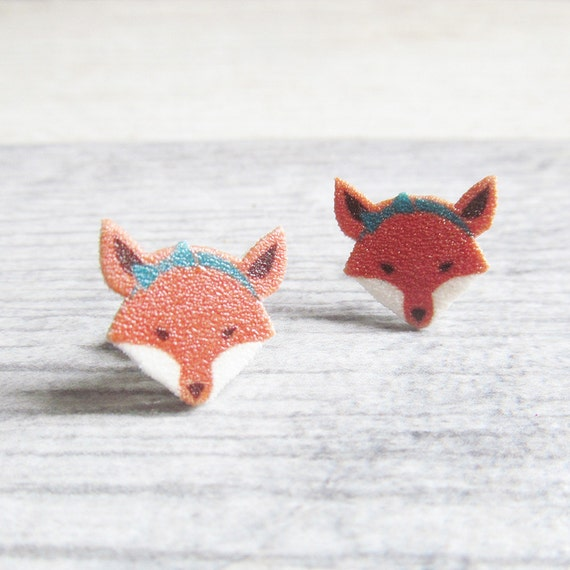Small, fox, female, earrings, shrink plastic, orange, white, turquoise headband, stainless stud, handmade, les perles rares
