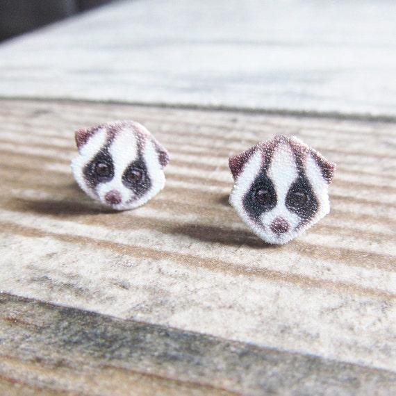 Small, firefox, earrings, shrink plastic, brown, black, white, stainless stud, handmade, les perles rares