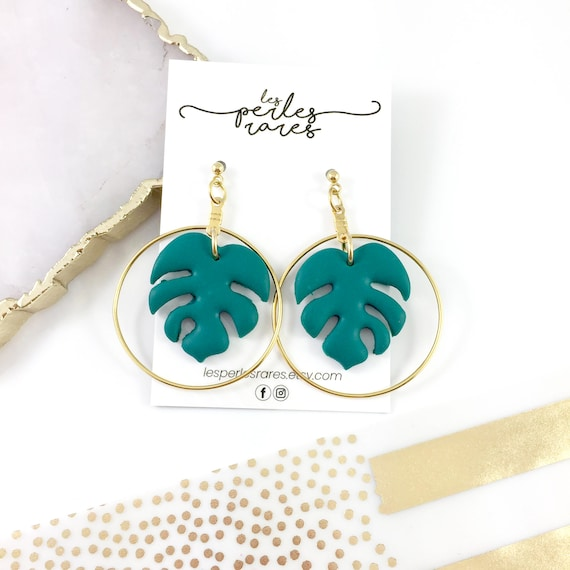 Tropical leaf earring, gold brass loop, polymer clay earring, green, stud ball with hook, gold, les perles rares