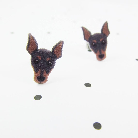 Miniature Pinscher, earring, pinscher dog stud, black, brown, dog,  hypoallergenic, plastic, stainless stud, handmade, les perles rares