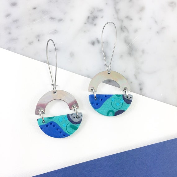 dangle earring, stainless hook, polymer clay earring,turquoise, blue, half circle polymer and metal, handmade earring, les perles rares