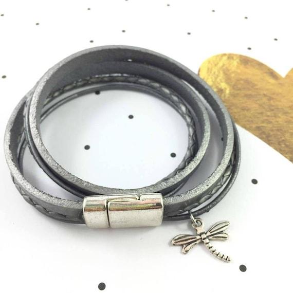 Leather, magnetic, magnet, bracelet, silver, libellule, charm, choker necklace, magnet, les perles rares