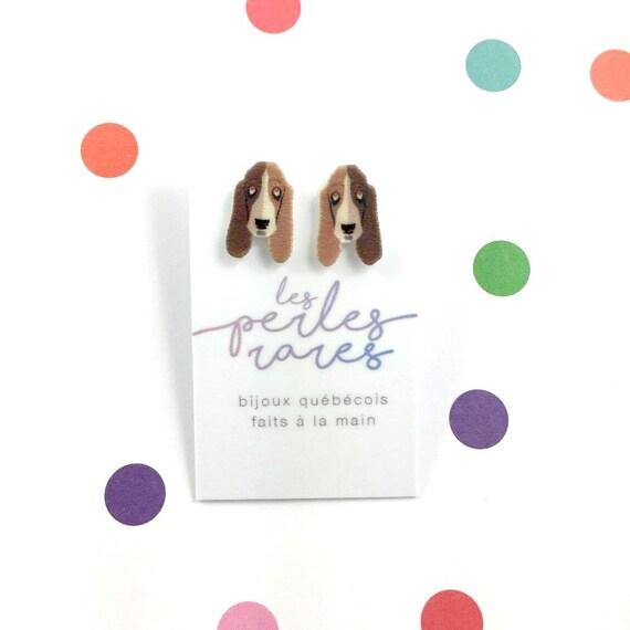 basset hound ,brown, white, dog earring, dog, hypoallergenic, plastic, stainless stud, handmade, les perles rares