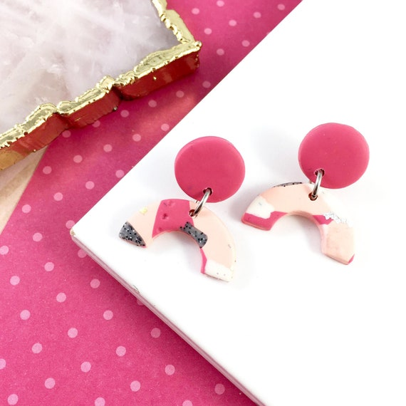 polymer peach, pink, white, shinny, gold foil, earring, dangle earring, two pieces, stainless stud, polymer clay earring, les perles rares