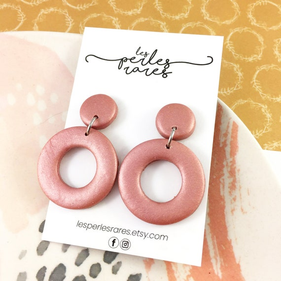 polymer pink, shiny, ocher, hoop, ring, two polymer pieces, stainless stud, polymer clay earring, les perles rares