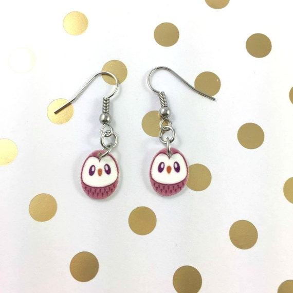 owl, pink, purple eye, pendent, earring,  plastic, night, bird, stainless hook, handmade, les perles rares