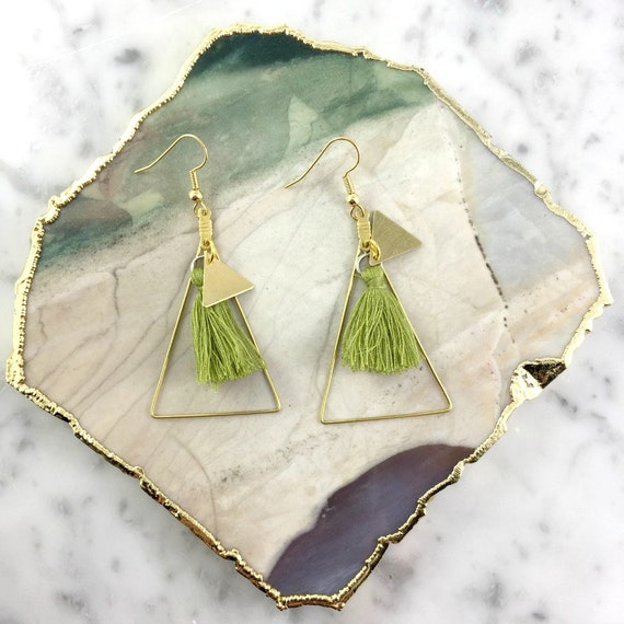 gold triangle, pendent earring, tassel green color, bohemian earring, long earring