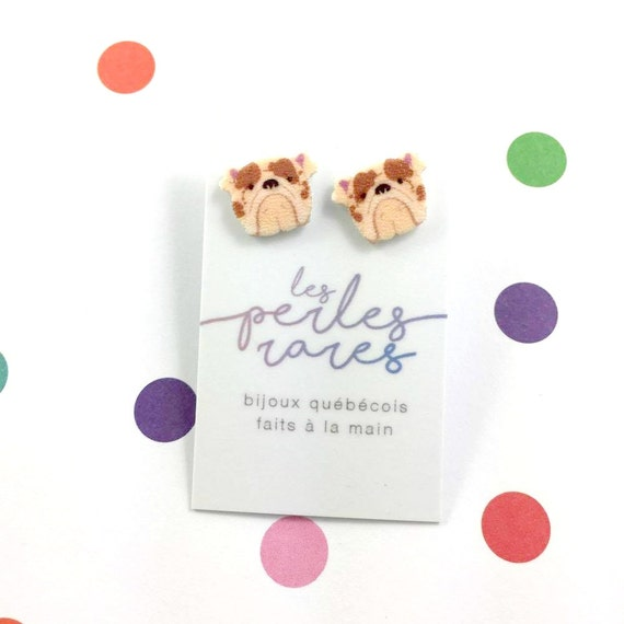 bulldog english, england dog, brown, dog earring,dog, hypoallergenic, plastic, stainless stud, handmade, les perles rares