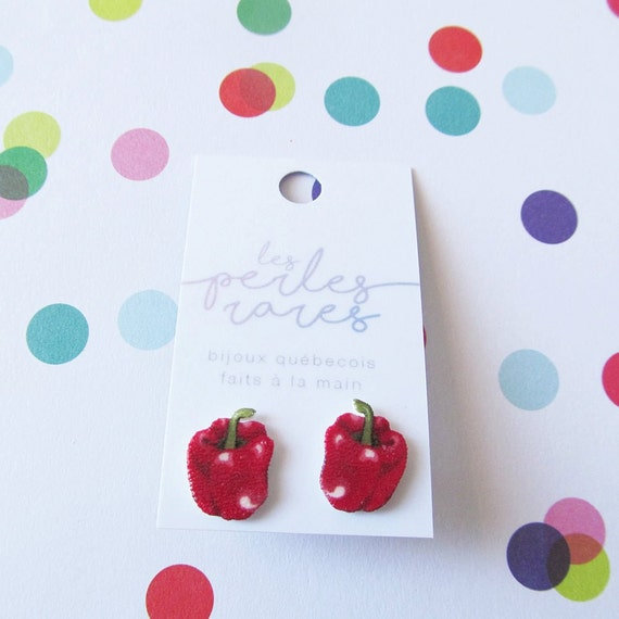 red, pepper, red pepper, pimento, autumn, earring, stud, shrink plastic,  stainless stud, nickel free, handmade, les perles rares