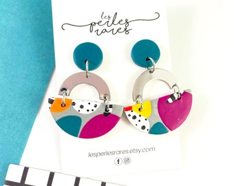 Amazing polymer earrings, turquoise, pink, black dots,  U form silver color, 3 pieces polymer, polymer clay earring, les perles rares
