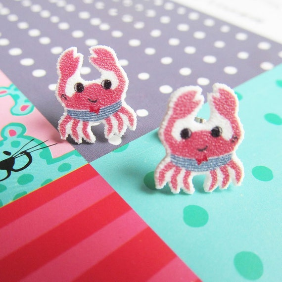 red crab, swimsuit, earring, summer earring, beach earring, print on plastic, stainless stud, handmade, les perles rares