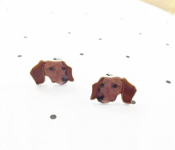 teckel, small, dog, brown, earrings, hypoallergenic, plastic, stainless stud, handmade, les perles rares