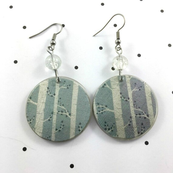 Resin earrings, tree, tree pattern,gray, handmade, sold, background, hypoallergenic hook, stainless steal, les perles rares