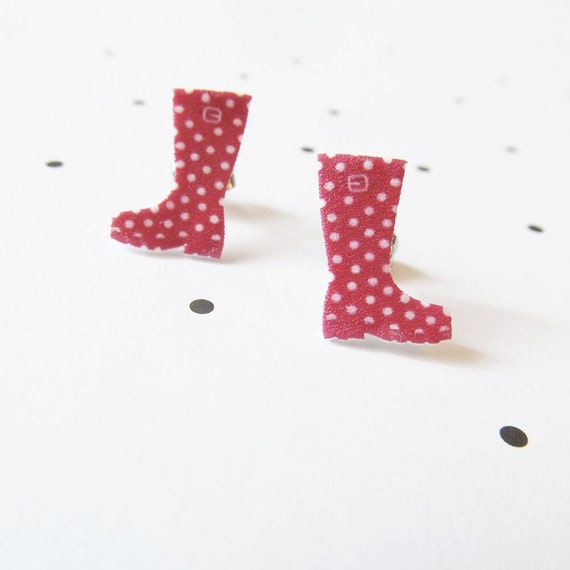 red, rainy, boots, white dots red boots, autumn, earring, stud, shrink plastic,  stainless stud, nickel free, handmade, les perles rares