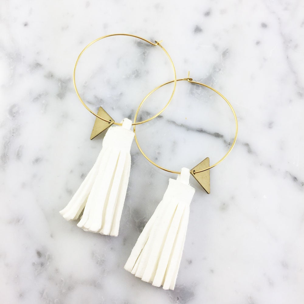 Hoop White Glands Earring Ring Gold Nickel Free Triangle 3 5cm
